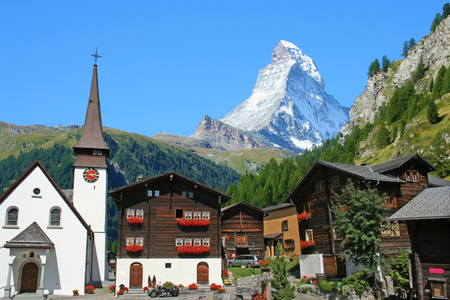 Beautiful view of old village with Matterhorn peak background in Zermatt, Switzerland