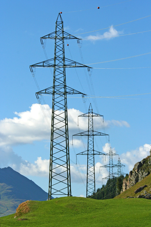 High voltage electrical pole structure in Switzerland Imagens