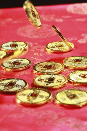 Antique chinese coins floating in mid air Stock Photo - 4186939