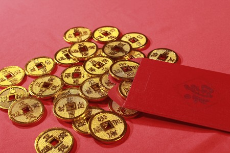 Red packet and antique chinese coins Stock Photo - 4186957