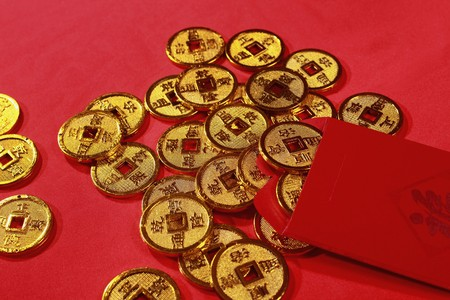 Red packet and antique chinese coins Stock Photo - 4186971