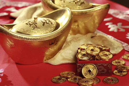 ingots: Gold ingots and antique chinese coins