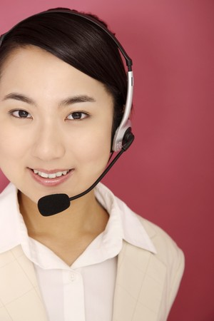 Woman talking on the telephone headset Stock Photo - 4194626