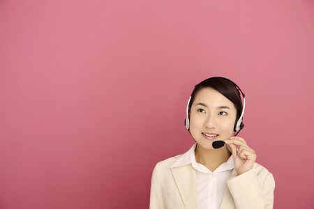 Woman talking on the telephone headset Stock Photo - 4194243