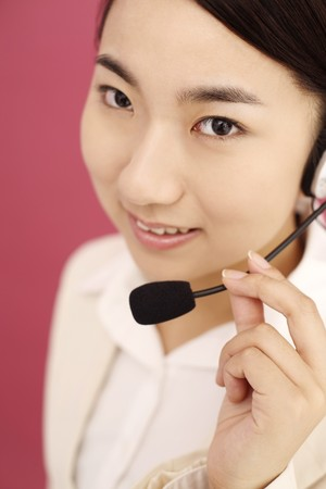 Woman talking on the telephone headset Stock Photo - 4194383