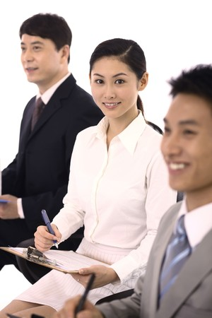 Business people writing report Stock Photo - 4194405