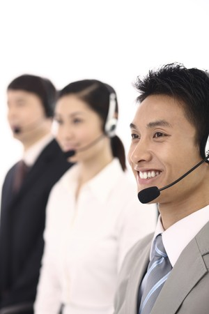 Business people with telephone headset Stock Photo - 4194406