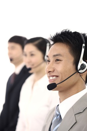 only mid adult men: Business people with telephone headset