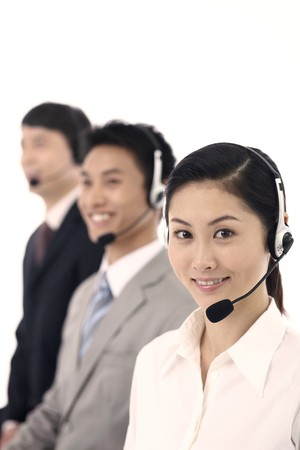 Business people with telephone headset