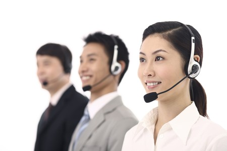 Business people with telephone headset Stock Photo - 4194565