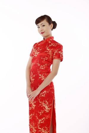 cheongsam: Woman wearing cheongsam Stock Photo