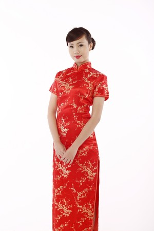 Woman wearing cheongsam Stock Photo