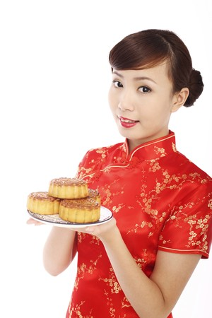 Woman wearing cheongsam holding a plate of mooncakes photo