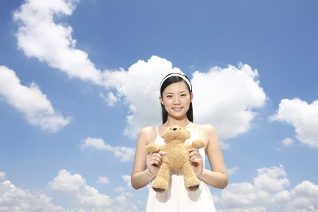 Woman holding soft toy Stock Photo - 4197484