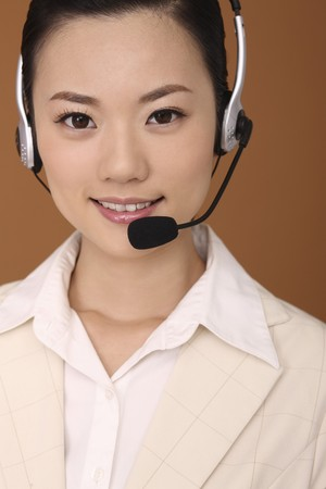 Businesswoman with headset photo