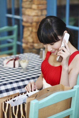 Woman looking at paperbags while talking on the phone Stock Photo - 4197654