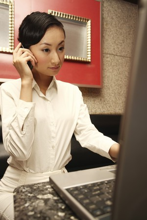 Businesswoman talking on the phone while using laptop photo