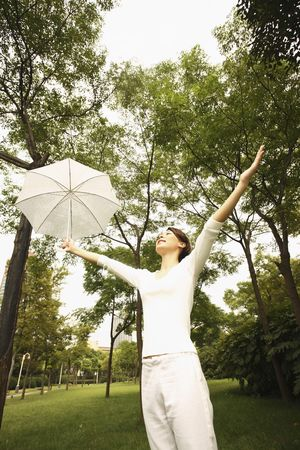 Woman holding umbrella with her arm outstretched photo