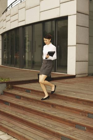 Woman with briefcase and organizer walking down the stairs Stock Photo - 4630338