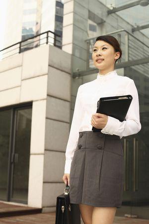 Woman holding briefcase and organizer Stock Photo - 4630238