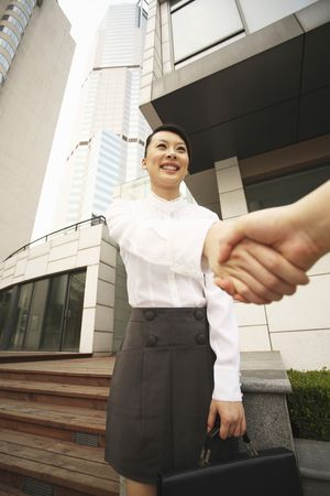 Woman smiling while shaking hands Stock Photo - 4630268