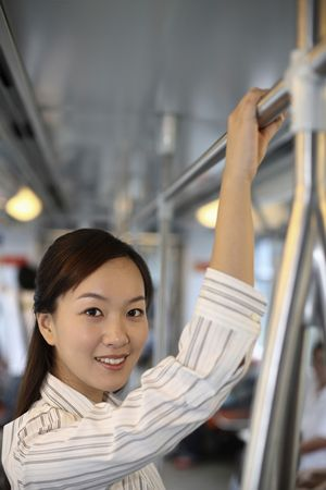 Woman traveling in train photo