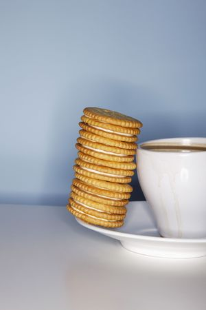 Coffee and a stack of biscuits photo