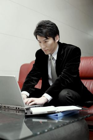 Man using laptop, smiling Stock Photo - 10294707