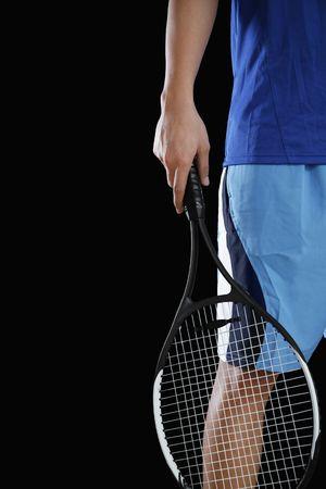 athletic gear: Man holding tennis racquet Stock Photo