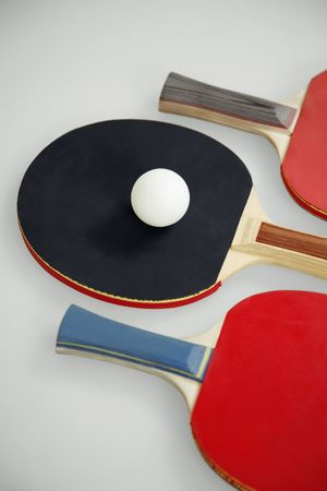 Table tennis bats and table tennis ball photo