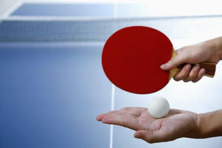 table tennis: Man playing table tennis Stock Photo