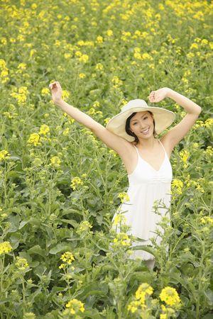 Woman at rape field, smiling photo