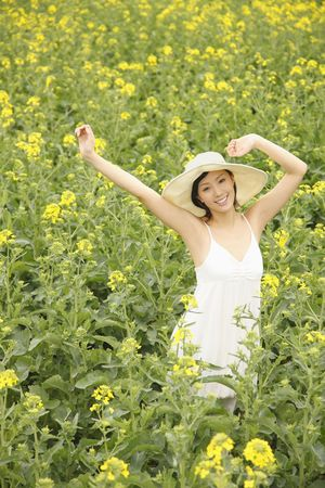 Woman at rape field, smiling Stock Photo - 4810780
