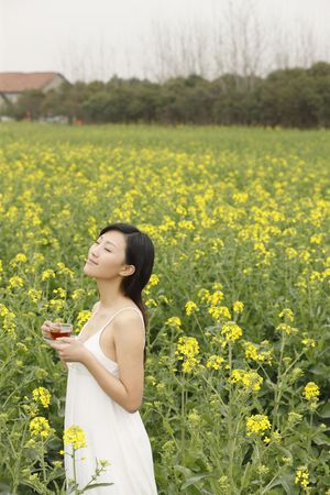 Woman enjoying a cup of tea at the rape field photo