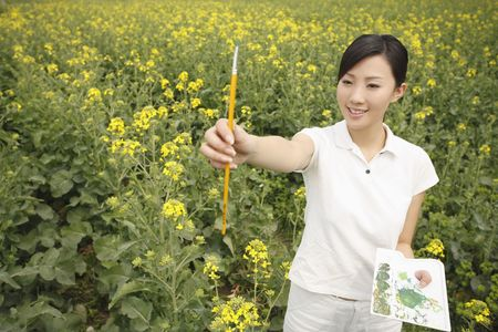 adult rape: Woman painting at the rape field Stock Photo