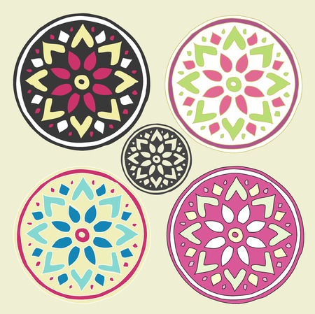 motive: Mandala illustration, girlish motive mandalas and flowers