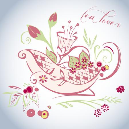 Tea lover, teatime, japan tea, english tea - floral decorative illustration