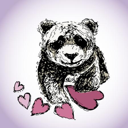 Panda bear with hearts illustration.