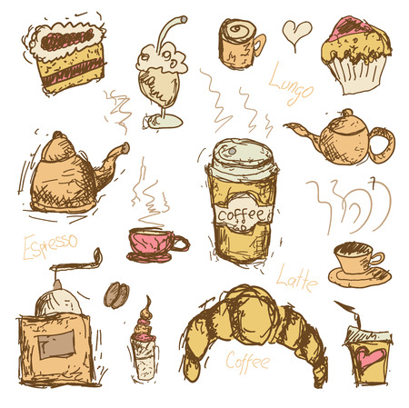 Coffee vector hand drawn doodles - coffee grinder, cup, mug, muffin, cake, coffee to go