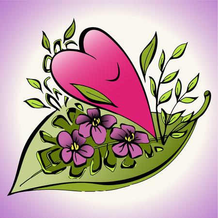 Cute motive for girl - Smiling heart illustration Çizim