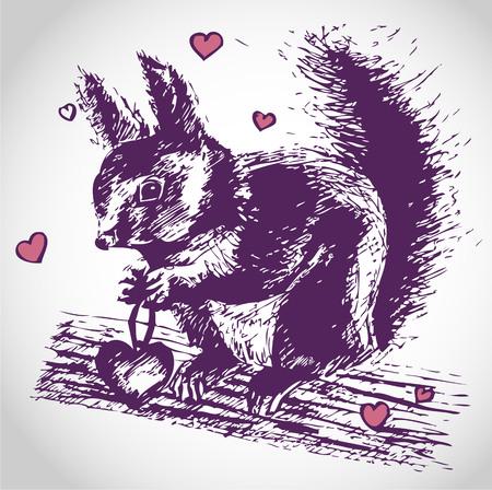 Squirrel in love illustration - Valentines Day vector motive