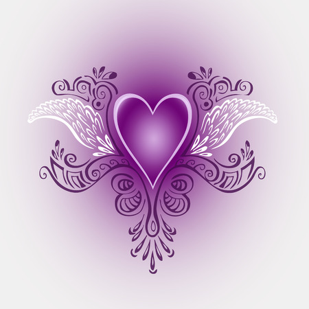 Heart with wings illustration - ornamental motive