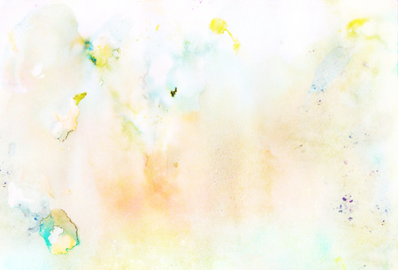 Abstract light orange, blue, yellow watercolor blurred background paper texture Stok Fotoğraf