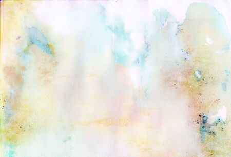 Colorful paper background with watercolor blurred splashes, stains and drips