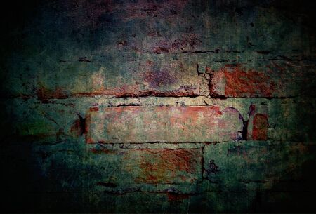 Scary background grunge old brick wall with dark mysterious and horror atmosphere 写真素材