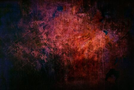 Background with scratches in black, red, purple color scary eroded metal for graphic design