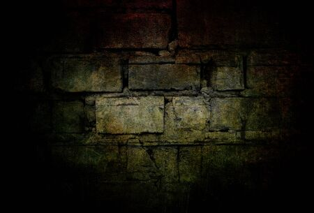 Dark background with mysterious and scary atmosphere. Grunge black and green stone wall texture