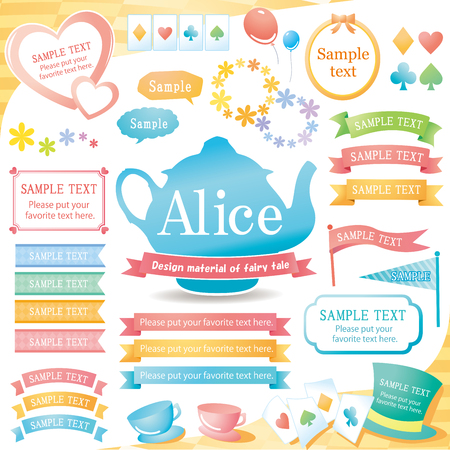 The image of Alice design material set Vectores