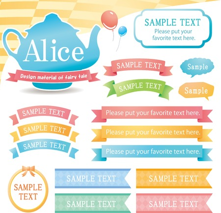L'immagine del set di materiali di design Alice