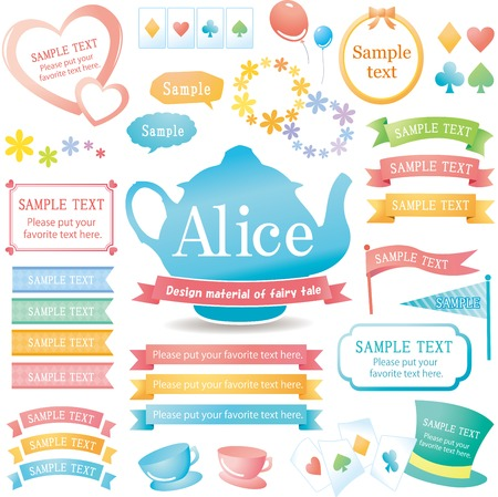 The image of Alice design material set  イラスト・ベクター素材